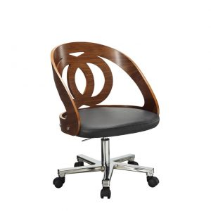 curve office chair walnut veneers black faux leather seat