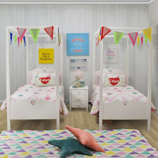 Holly Children's Four Poster Single Bed Pair