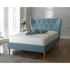 Camille Duck Egg Blue Fabric Bed Frame