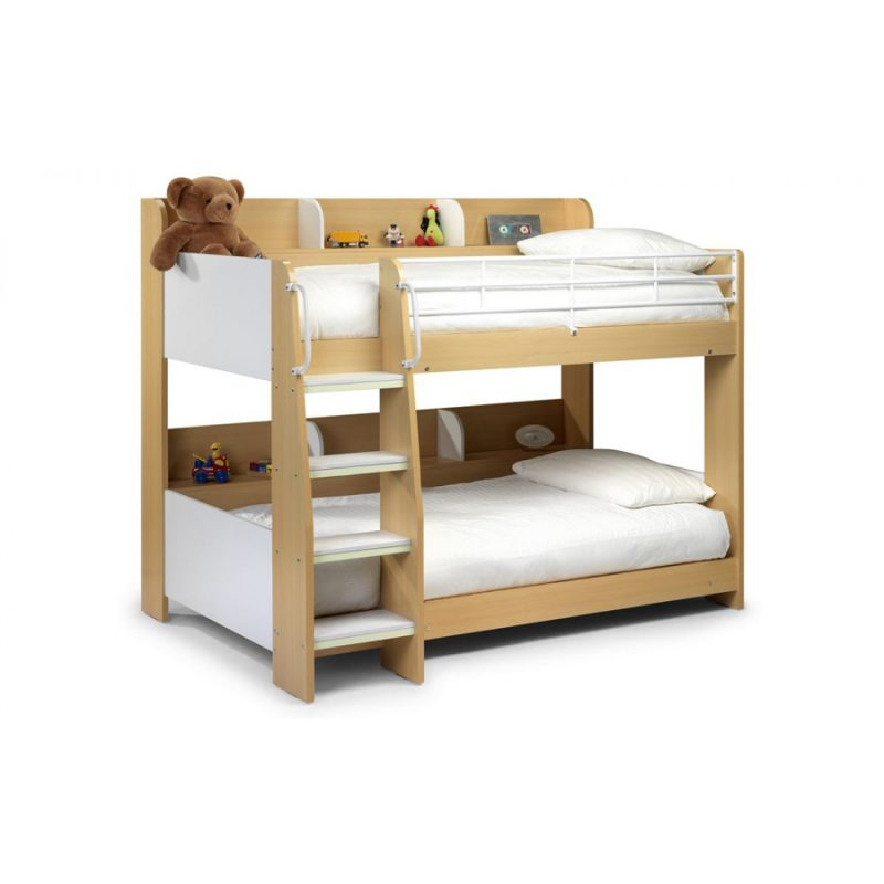 Domino Bunk Bed With Shelving White & Maple