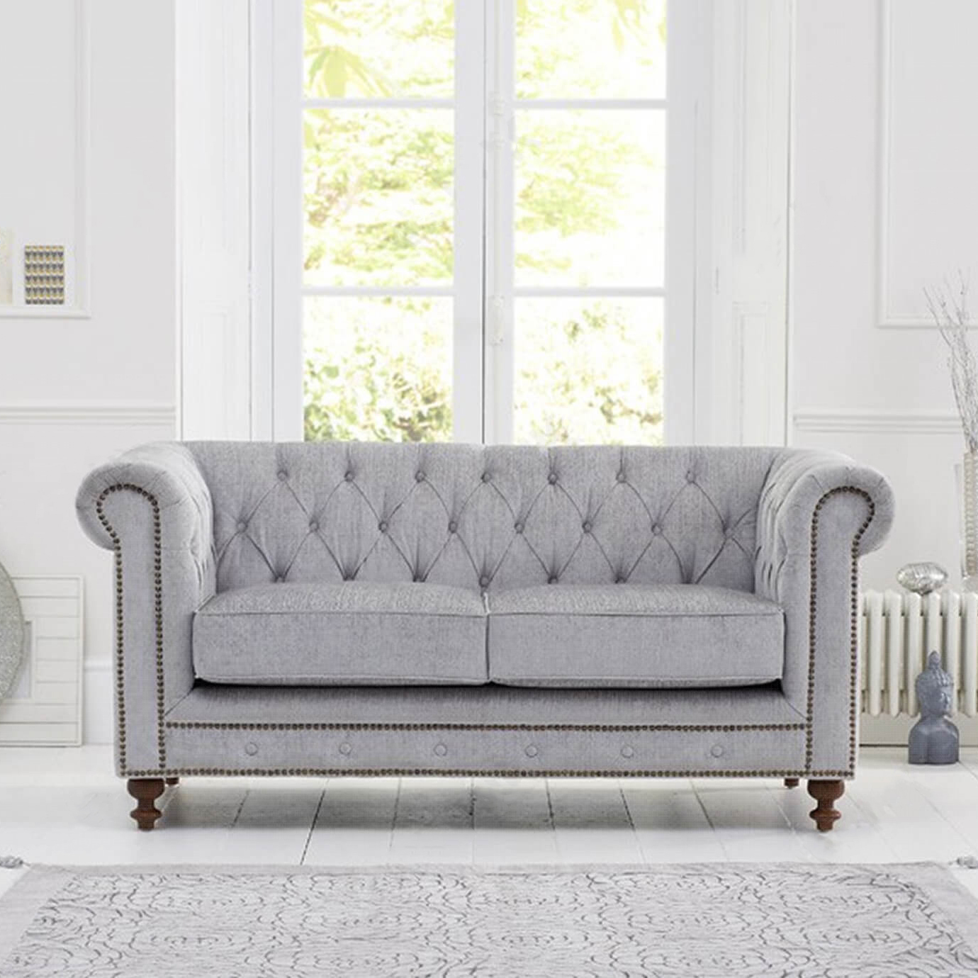Grey Fabric 2 Seater Chesterfield Sofa