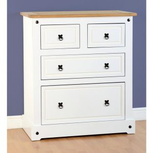 corona white chest - 4 drawers