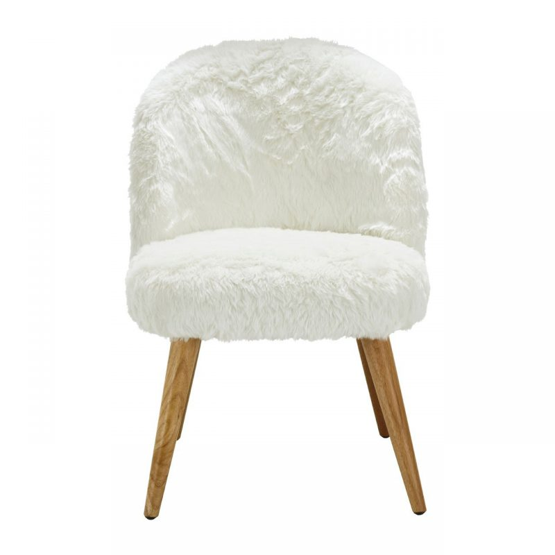 Cabaret Soft Faux Fur Chair White
