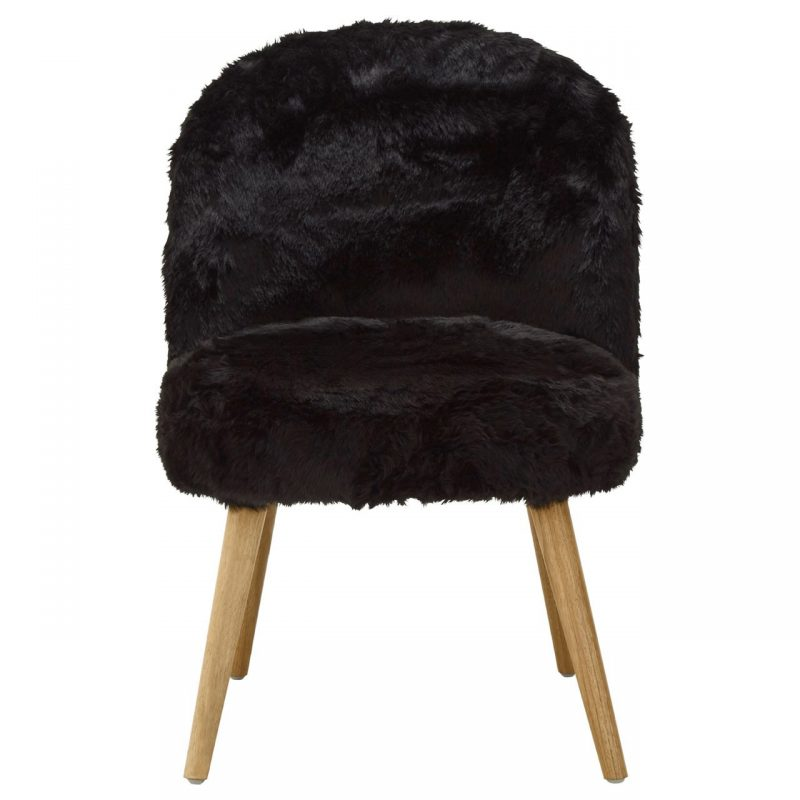 Cabaret Soft Faux Fur Chair Black
