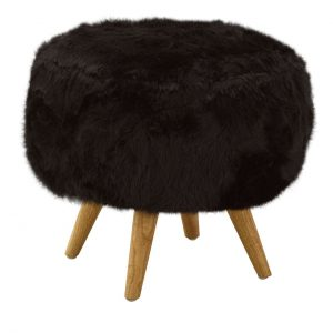 Cabaret Soft Faux Fur Stool Black
