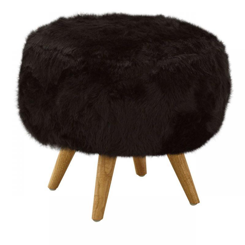 Cabaret Soft Faux Fur Stool Black