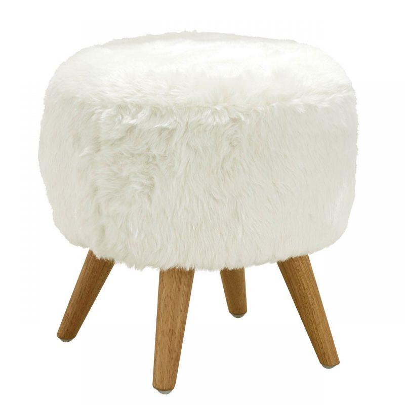 cabaret Soft Faux Fur Stool White