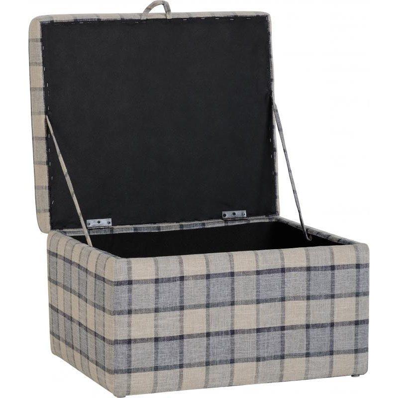 Hammond Fabric Storage Stool Grey Check Open