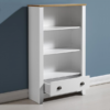 square_ludlow white painted bookcase open