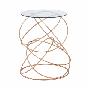 Arabella Geometric Rose Gold Lamp Table
