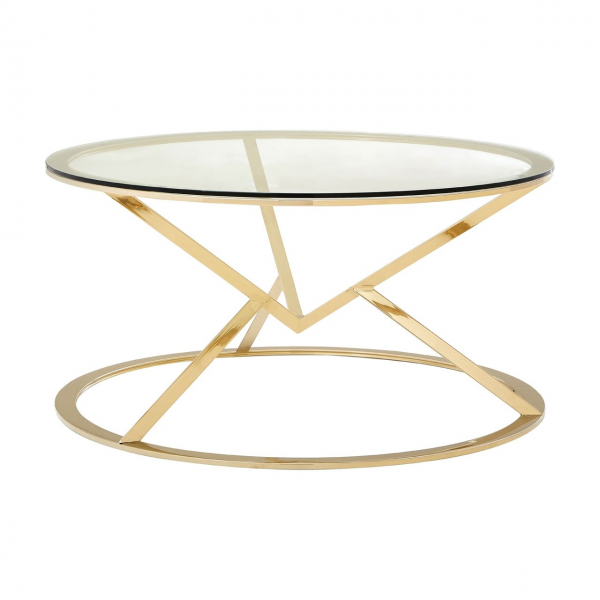 Margot Champagne Gold Round Coffee Table Fads