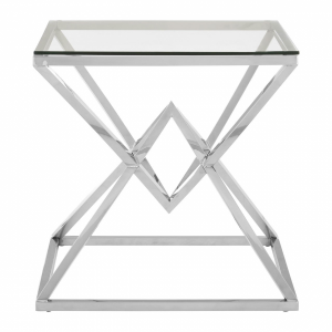 Allure Geometric Glass End Table