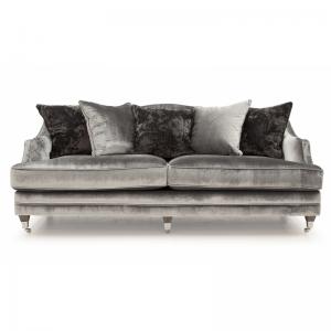 Belvedere Grey Velvet 4 Seater Sofa