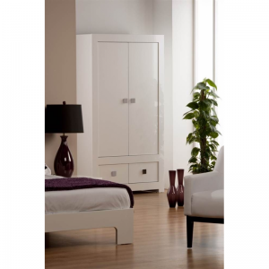 Bari White High Gloss Wardrobe