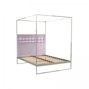 Federico Blush Velvet Canopy Bed 1