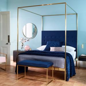 Federico Midnight Blue Velvet Canopy Bed 1
