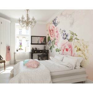 Roses and Sparkle floral wall mural show room