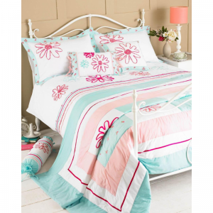 Embroided Floral Single Duvet Set