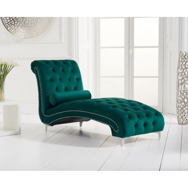 New England Chaise Longue- Green Velvet