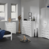 Scandi White Bedside – 2+4 Chest- 2 Door 3 Drawer Robe package