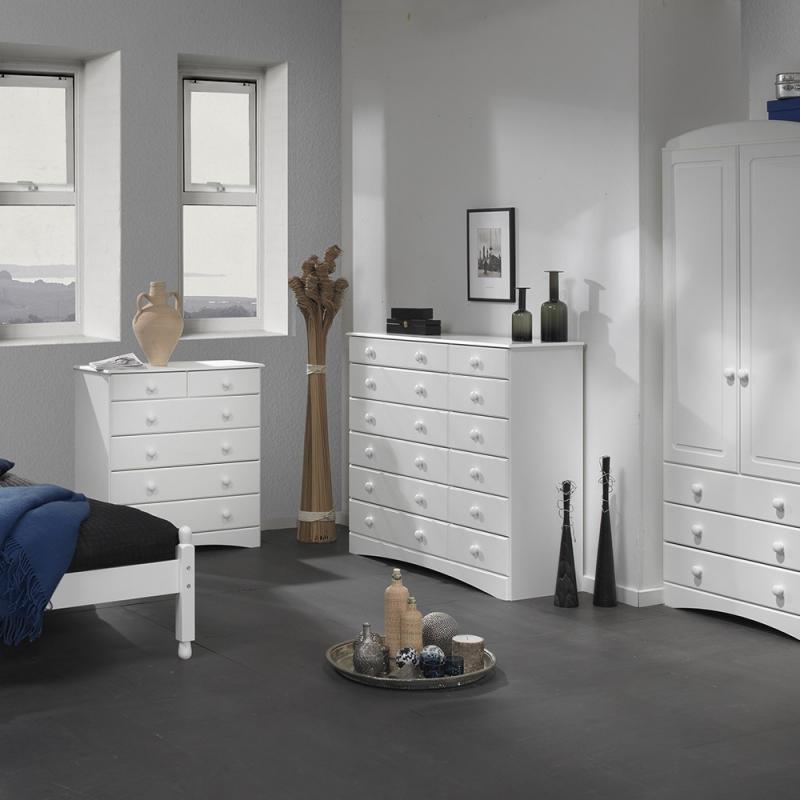 Scandi White Bedside - 2+4 Chest- 2 Door 3 Drawer Robe package