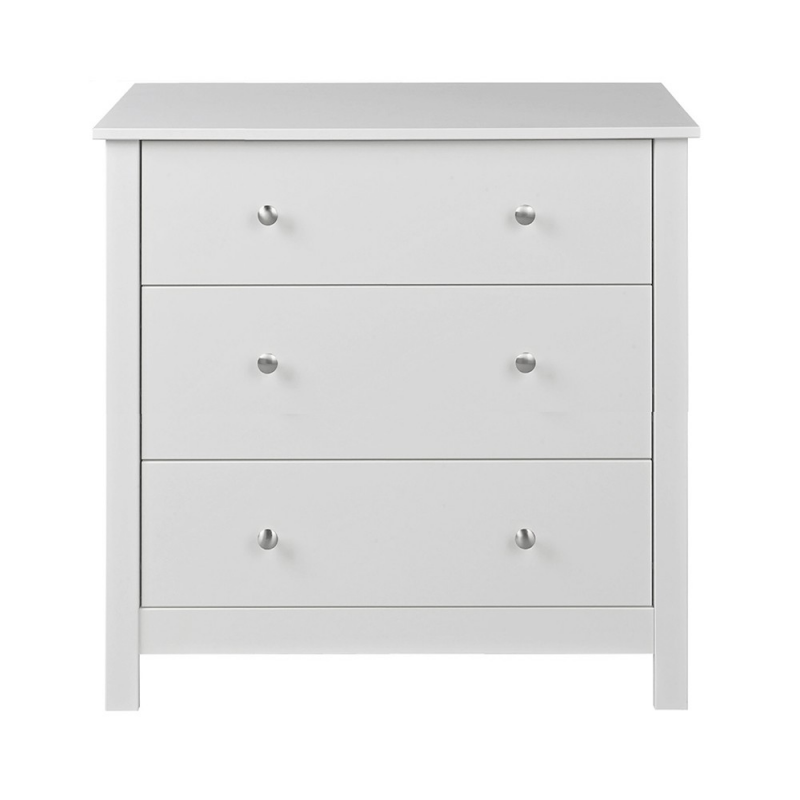 Florence White Package - Bedside + 3 Drawer Chest + Desk/Dressing Table